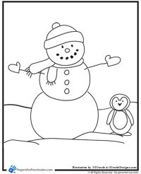 snowman with penguin coloring page