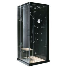Ariel 36 In X 85 Steam Shower Enclosure Kit Blue Tempered Glass