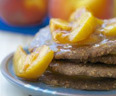 Raw Oatmeal Pancakes with Peach Compote - Feasting on Fruit