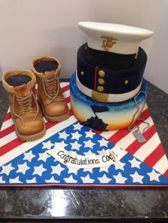 Graduation cake for soon -to -be Marine - Cake by Melanie Mangrum