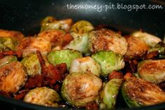 Brussels Sprouts - caramelized with balsamic and brown sugar + bacon