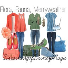 Flora, Fauna, and Merryweather-inspired outfits [travel sets!]