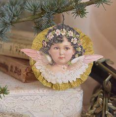 Jeanne D'Arc Christmas Angel, Victorian Angel Faces, Hanging Christmas Angel, Shabby Angel Tree Decor
