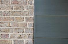 Zinc to brick detail Zinc Cladding, Brick Cladding, Exterior Cladding, Wall Cladding, Metal Facade, Brick Facade, Roof Detail, Brick Detail, Detail Architecture