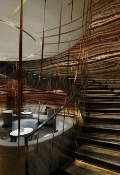 An incredible and glassy staircase ambience. Ideal for a very wide home