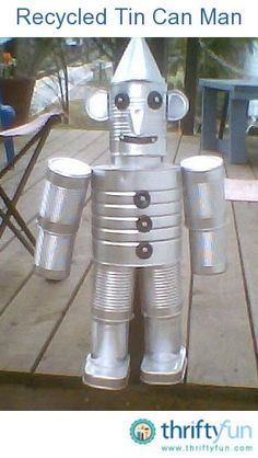 Recycle clean empty food cans into a delightful tin man for your home or garden. This is a guide about making a recycled tin man. Includes list of items needed