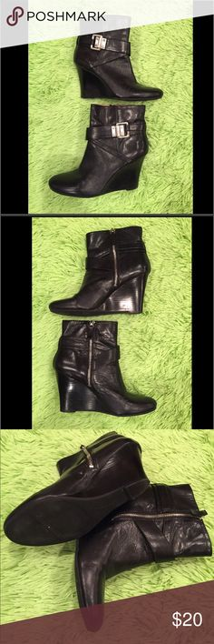 Nine West black booties Super cute Nine West black booties with silver buckle and zip up side - size woman's 8. Excellent condition, worn only a few times Nine West Shoes Ankle Boots & Booties
