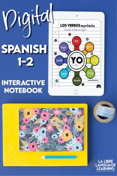 Now you can take your Spanish interactive notebooks digital! This Spanish 1 remote learning activity is perfect for the distance learning classroom teacher looking for an easier way to take notes on high-frequency verbs. Grab this FREE Google Slides activity and interactive notebook set that functions as a great review for Spanish 2 verbs. It's also a Sobre Mi back to school activity! #googleclassroom #spanishclass #comprehensibleinput #interactivenotebooks #distancelearningspanish