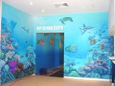 aquarium wall paint mural paintings corals fish underwater full photo wallpaper
