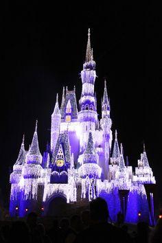 Olha que lindo o show que tem a noite no Parque Magic Kindon na Disney, a noite, maravilhoso né! #encantada