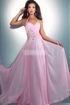 Halter Chiffon Long A-line Sleeveless Prom Dress