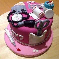 Cake Icing, Fondant Cakes, Cupcake Cakes, Cute Cakes, Yummy Cakes, Nursing Graduation Cakes, Medical Cake, Doctor Cake, Candy Cakes