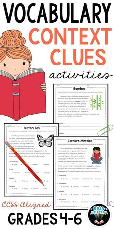 Do your students struggle with understanding and using vocabulary? This no-prep, printable packet helps your students master using context clues to determine a word's meaning. It shows examples of definition/explanation context clues, synonym/restatement 5th Grade Context Clues, Context Clues Worksheets, Vocabulary In Context, Teaching Vocabulary, Vocabulary Practice, Vocabulary Worksheets, Teaching Reading, Vocabulary Strategies, Teaching Resources