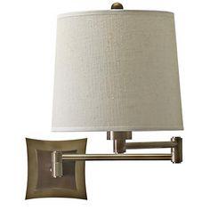 Brass Finish Bi-Level Backplate Plug-In Swing Arm Wall Lamp