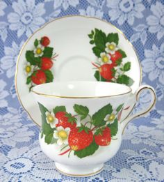 Strawberry Ripe by Royal Grafton. Cup And Saucer, c1950s. $24.00/pr at AntiquesAndTeacups on etsy, 6/19/15
