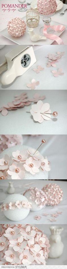 Bouquet em bola de esferovite e alfinetes