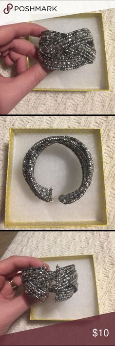 Silver and Grey Beaded Cuff Bracelet Never worn, and waiting for a great new home! Feel free to make an offer! Charlotte Russe Jewelry Bracelets