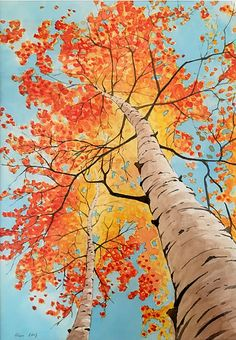 Berken in de herfst by Alex Olzheim Watercolor Trees, Watercolor Landscape, Landscape Art, Watercolor Paintings, Oil Painting Trees, Autumn Scenery, Autumn Trees, Birch Tree Art, Aspen Trees