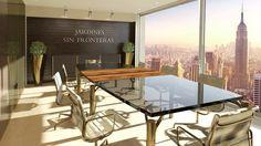 Despacho 3D de día sala de reuniones