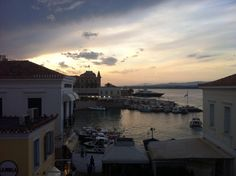 Spetses, sunset view from Alexandris Hotel balconies