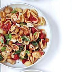 Orecchiette with Greens, Mozzarella and Chickpeas - http://www.foodandwine.com/recipes/orecchiette-with-greens-mozzarella-and-chickpeas
