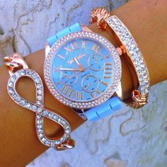 Vivian Sky Stack Gogo Lush  $59.90 _ This set includes an infinity design chain bracelet with rhinestone accents, a silicone adjustable band watch with rhinestones throughout, and a rhinestone encrusted stretch bracelet.