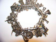 Vintage Unique Sterling Silver Charm Bracelet 49 Charms Heavy   eBay