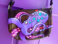 Purple Octopus Hand Painted Purse via Etsy. Fashion Design Classes, Octopus  Jewelry, Purses 1839c57358