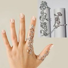 Silver-Gold-Double-Full-Finger-Knuckle-Armor-punk-Rock-Gothic-long-Ring-JEWELRY