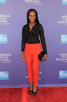 I love this color on Tika Sumpter! Strawberry Red Hair, Tika Sumpter, Dark Skin Girls, Colored Pants, Brown Girl, Work Fashion, Cool Suits, Pretty Dresses, Spring Summer Fashion