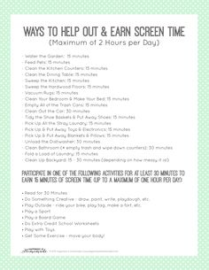 Printable Chore List to Earn Screen Time Parenting Advice, Kids And Parenting, Parenting Styles, Parenting Websites, Peaceful Parenting, Parenting Classes, Foster Parenting, Gentle Parenting, Chore Chart Kids