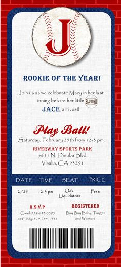 digital file baseball ticket baby shower invitation etsy