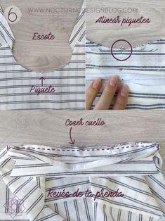 Cómo coser un cuello camisero en 8 pasos – Nocturno Design Blog Sewing Basics, Sewing Hacks, Sewing Tutorials, Boys Sewing Patterns, Sewing Collars, Diy Shops, Bead Sewing, Design Blog, Sewing Techniques
