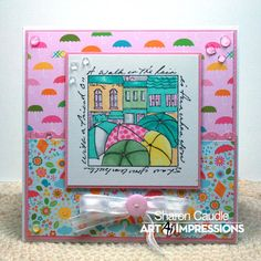 Art Impressions Rubber Stamps: Windows to the World stamp,  M3314 Walking in the Rain