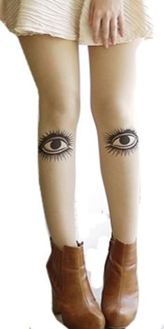 Ymid Select Rare Funky Big Eyes Graphic Design Tattoo Nude Sheer Pantyhose