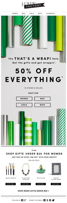 J.Crew gift guide & sale email #emailmarketing
