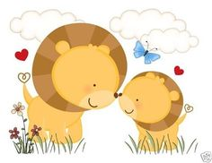 Jungle Lion LOVE Wall Art Mural Decal for baby girl boy nursery or kids room decor. This adorable mural of a loving lion with her cub in the spring meadow. This unique, one of a kind wall mural is high quality with bright vivid colors. Easy to install #decampstudios