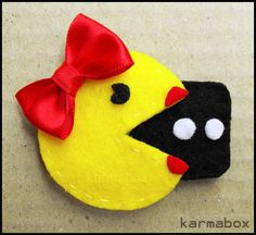 Ms+PacMan+HAIR+CLIP+Felt+Fuzzies+by+FeltFuzzies+on+Etsy,+$5.20