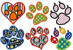 Paws Collection of 7 Paw prints Dog Applique. INSTANT DOWNLOAD Machine Embroidery Design Digitized File