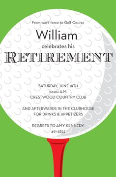 Golf Party, Golf Invite, Men's Retirement Party, Party for Him ...