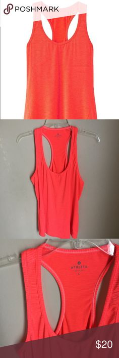 Athleta Coral Striped Chi Racerback Workout Tank L Excellent pre-owned condition.  Materials: 93% polyester, 7% spandex  Approximate measurements:  🌟length (top of shoulder to bottom hem): 26.5in 🌟chest (underarm to underarm): 18.5in Athleta Tops Tank Tops