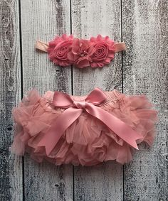 Look at this Ella's Bows Rose Tutu Diaper Cover & Chiffon Shabby Headband - Infant on #zulily today!