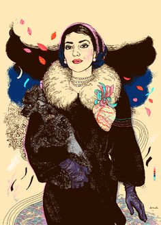 Beautiful touches of colors on these gorgeous illustrations by Polish illustrator and creative director Agata Endo Nowicka. Make sure you visit Agata's Maria Callas, Oliver Hibert, Valerie Perrine, Divas, Graphic Design Posters, Lady And Gentlemen, Famous Women, Art Music, Pixel Art