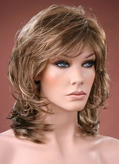 Ladies Medium Wig Tousled Layers Style Brown with Ash Blonde Highlights Wig Layered Hair With Bangs, Medium Length Hair With Layers, Medium Layered Hair, Medium Hair Cuts, Hair Styles For Women Over 50, Short Hair Cuts For Women, Hair Cuts For Over 50, Wig Styles, Curly Hair Styles