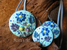 Pastel Blue Delicate Flowers  polymer clay jewelry by MoirasArt, $29.00