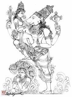 Bhumidevi & Varaha. When asura Hiranyaksha kidnapped the earth or goddess earth Bhuma Devi ..Lord Vishnu took the avatar of Lord Varaha to safe her and kill the asura . After saving her, He and Goddess Bhuma  were married .