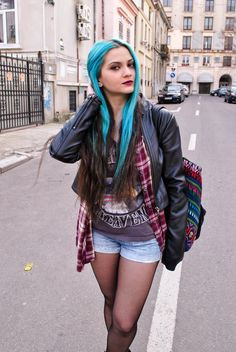 highway to haven #grunge #turquoise #hair #outfit #evasplace