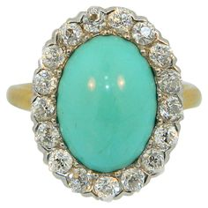 Early 1900s Shreve & Co. Turquoise Diamond Gold Platinum Ring | From a unique collection of vintage cocktail rings at https://www.1stdibs.com/jewelry/rings/cocktail-rings/