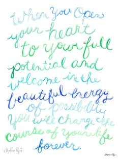 Possibilities Quote  by Stephanie Ryan from her Small Sweet Steps series.