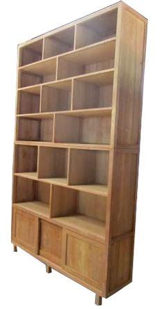 Teak boekenkast wandkast Kampen 3 schuifdeuren 6 planken 160 cm - Teakhouten meubelen en landelijke tafels kasten dressoirs vitrine buffetkasten
